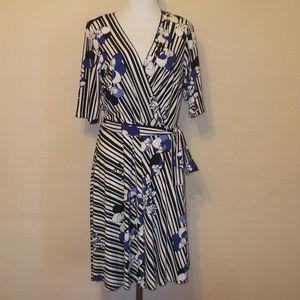 Floral & Striped Side Tie Midi Dress